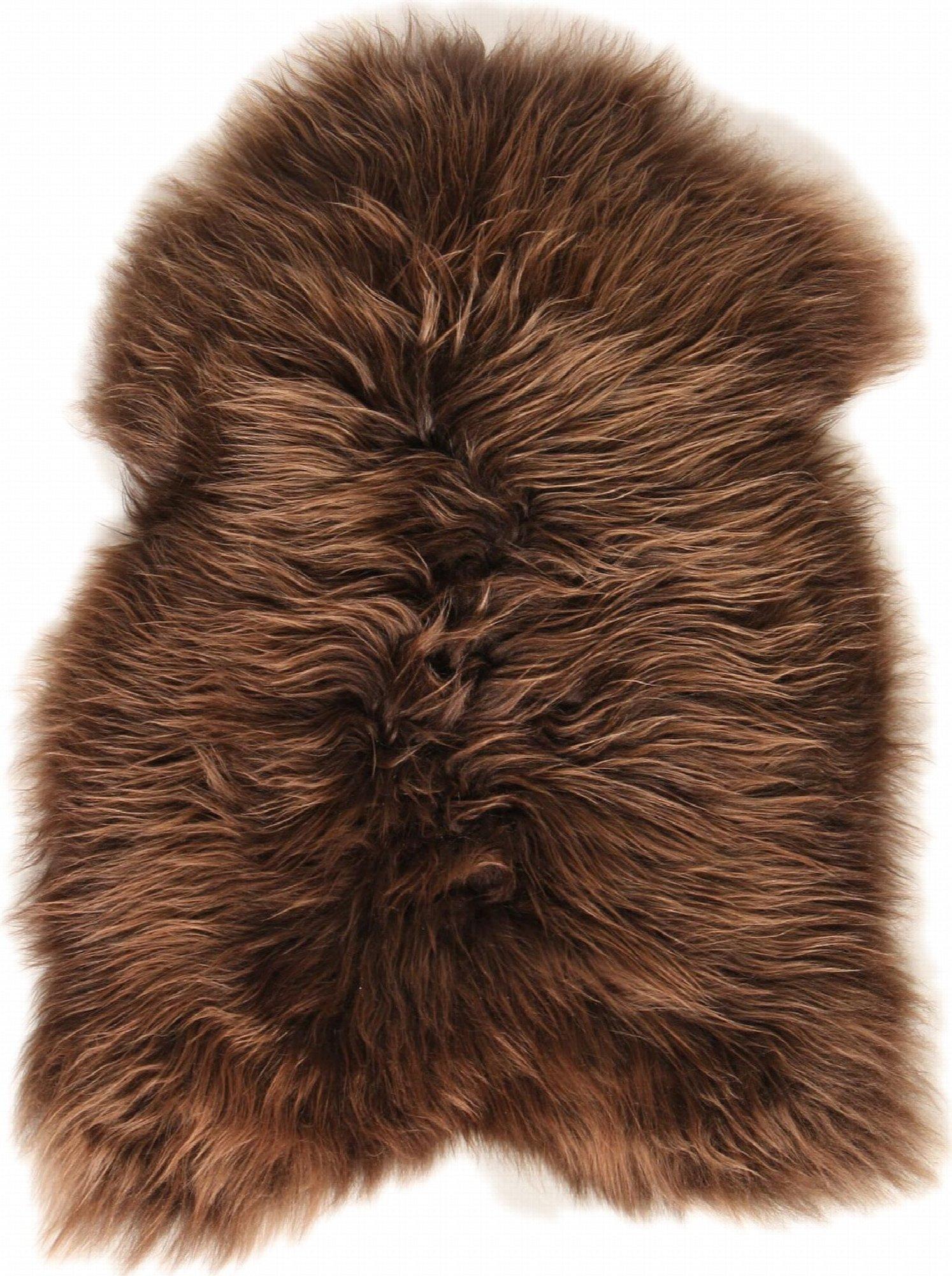 Descente de lit peau de mouton marron 90x60