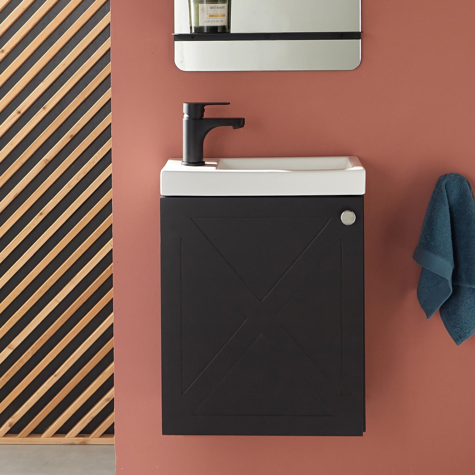 Meuble lave-mains Noir avec robinet