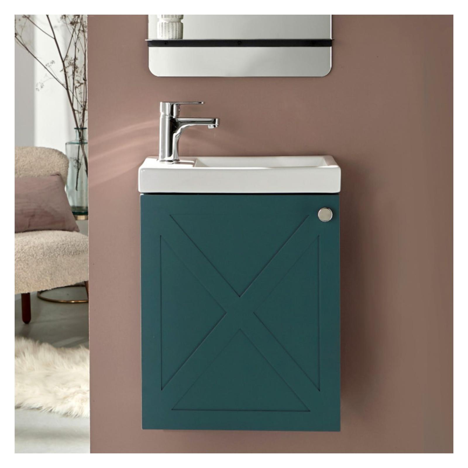 Meuble lave-mains avec robinet Vert