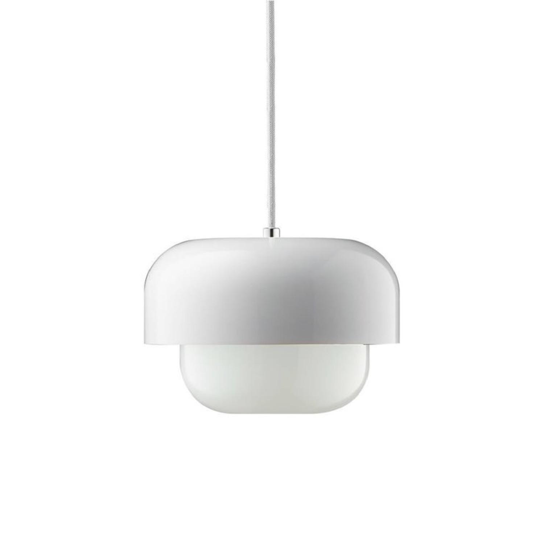 Suspension verre et métal blanc D23cm