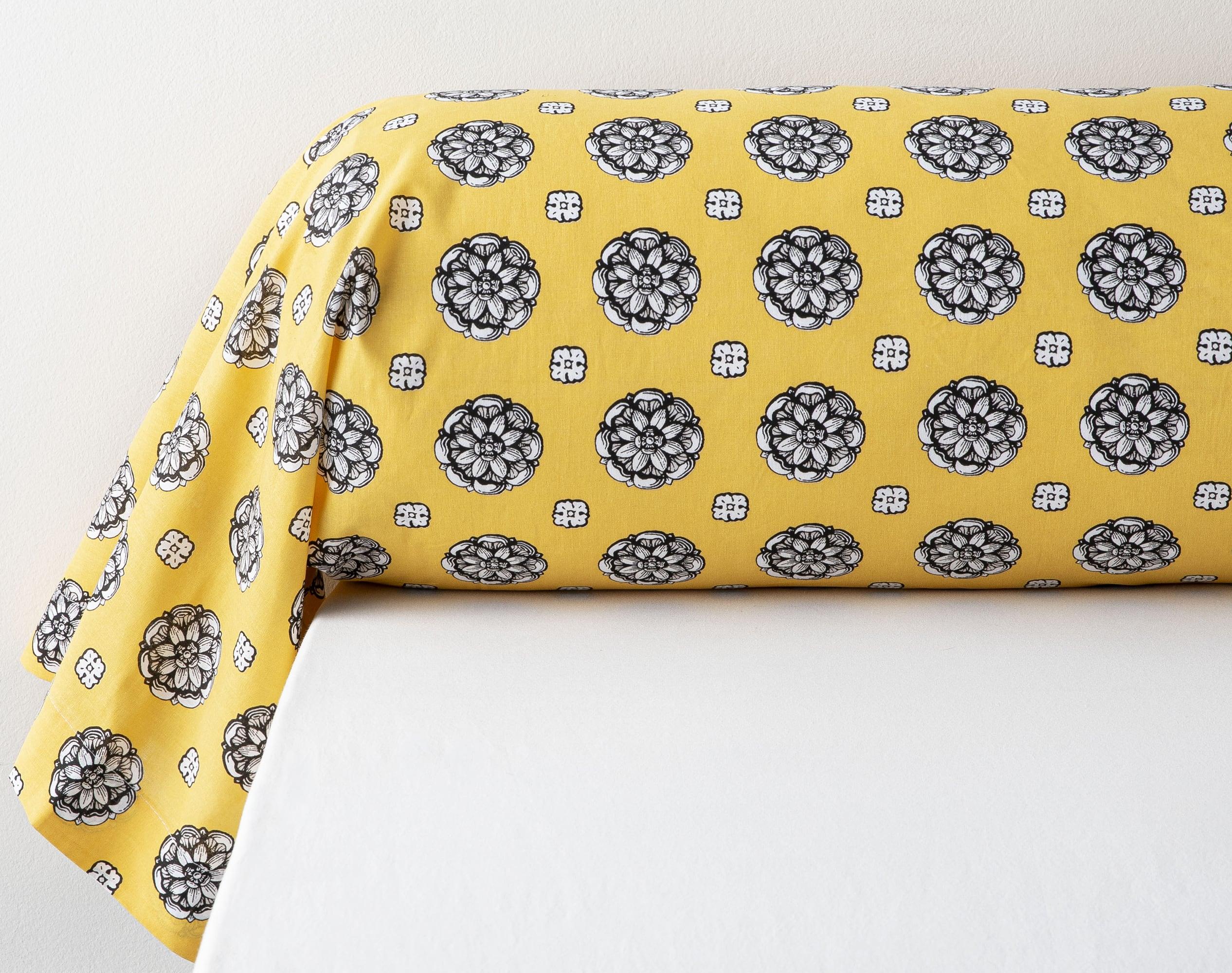 Taie de traversin 45x185 en coton jaune