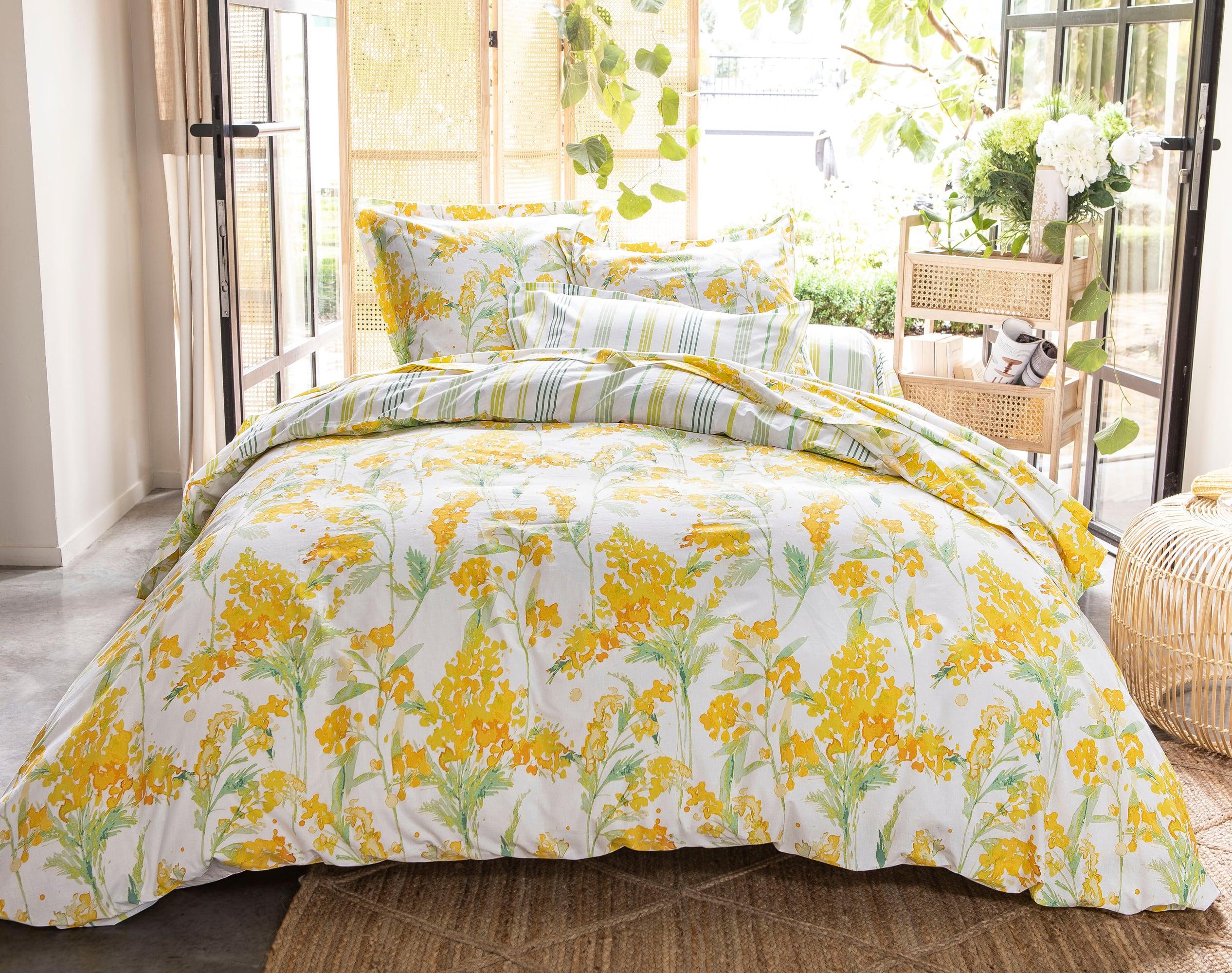 Housse de couette 140x200 en coton jaune mimosa