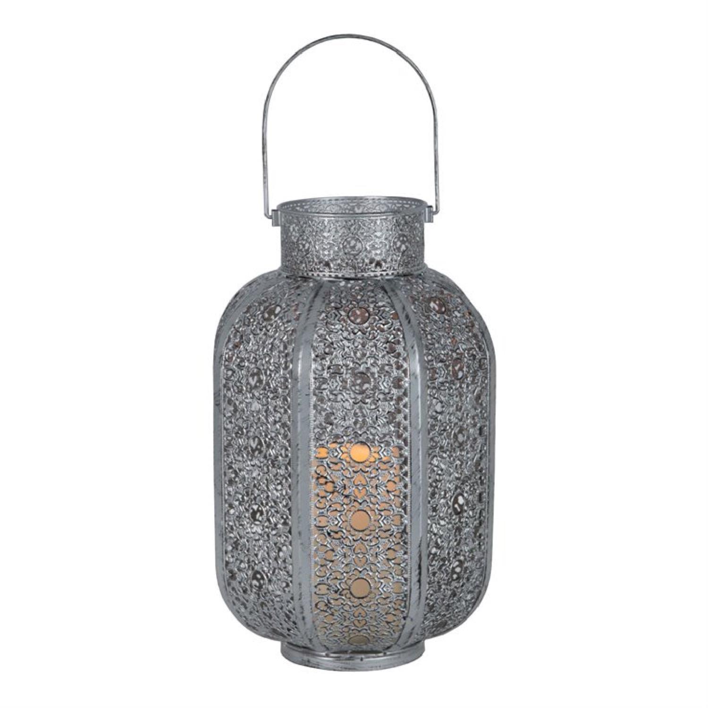 Lanterne LED métal à piles H34cm