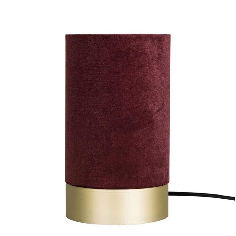 Lampe à poser velours rouge/métal H26cm