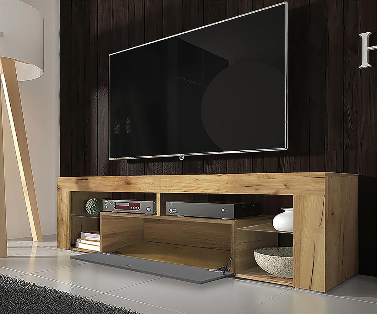 Meuble tv tablettes en verre chêne lancaster gris brillant