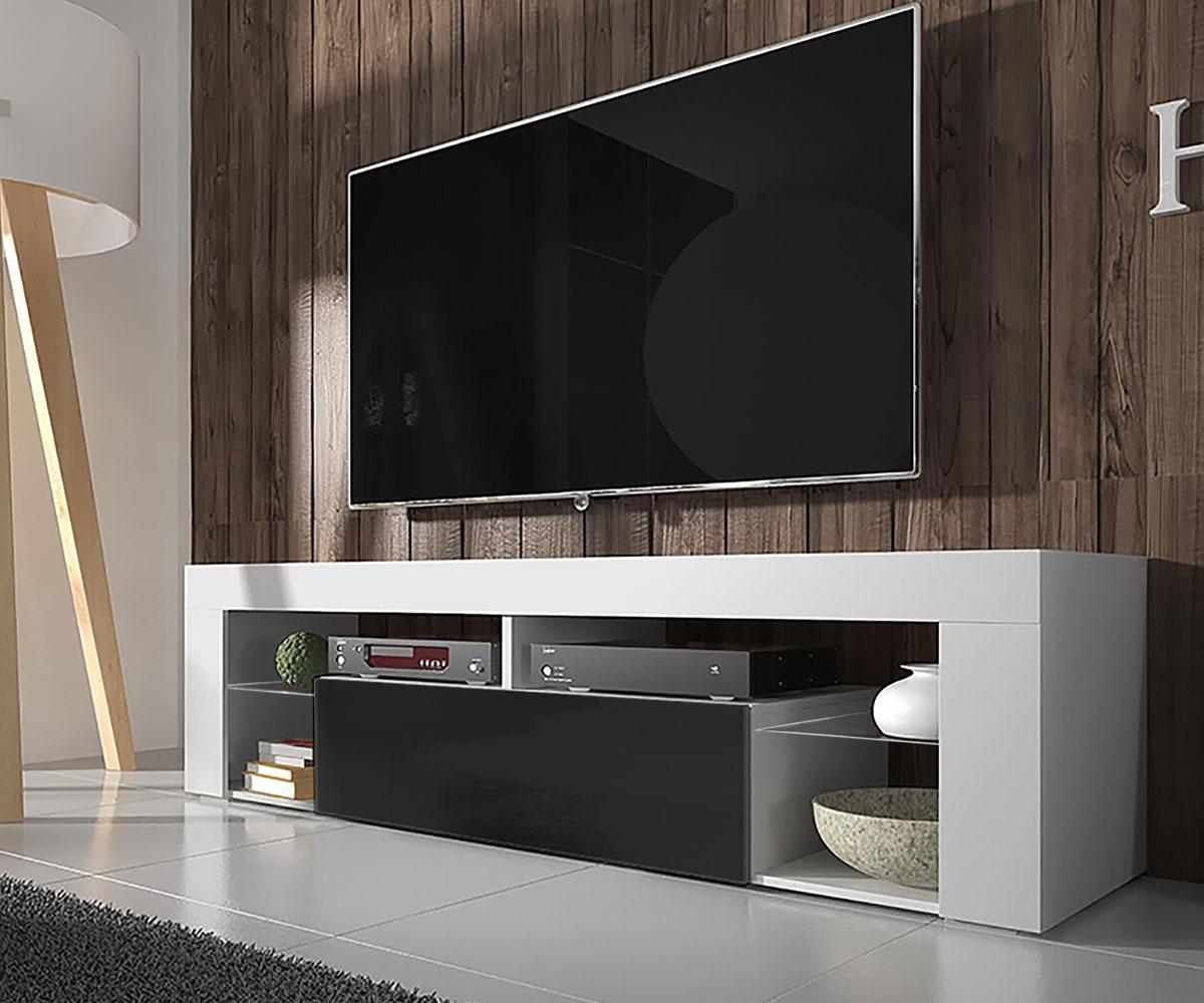 Meuble tv tablettes en verre blanc mat noir brillant