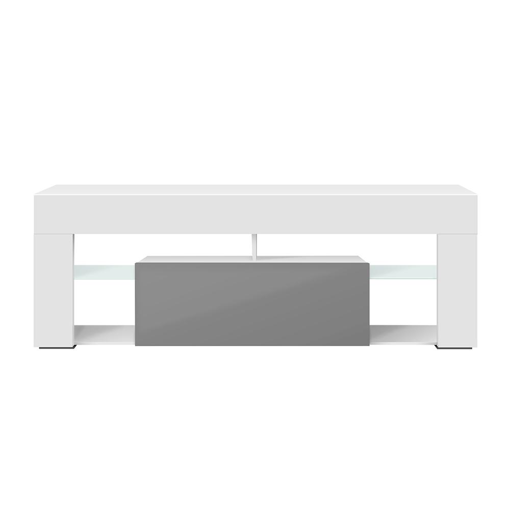 Meuble tv tablettes en verre blanc mat gris brillant