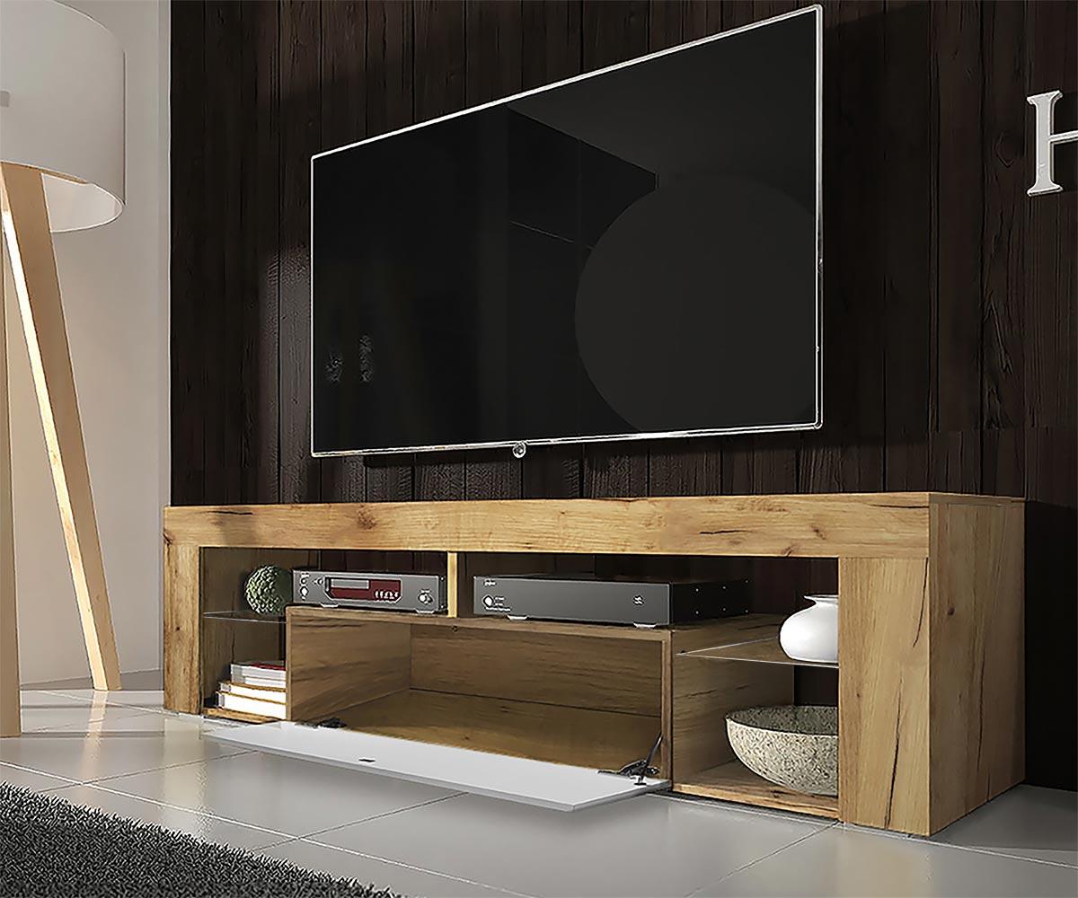 Meuble tv tablettes en verre chêne lancaster blanc brillant