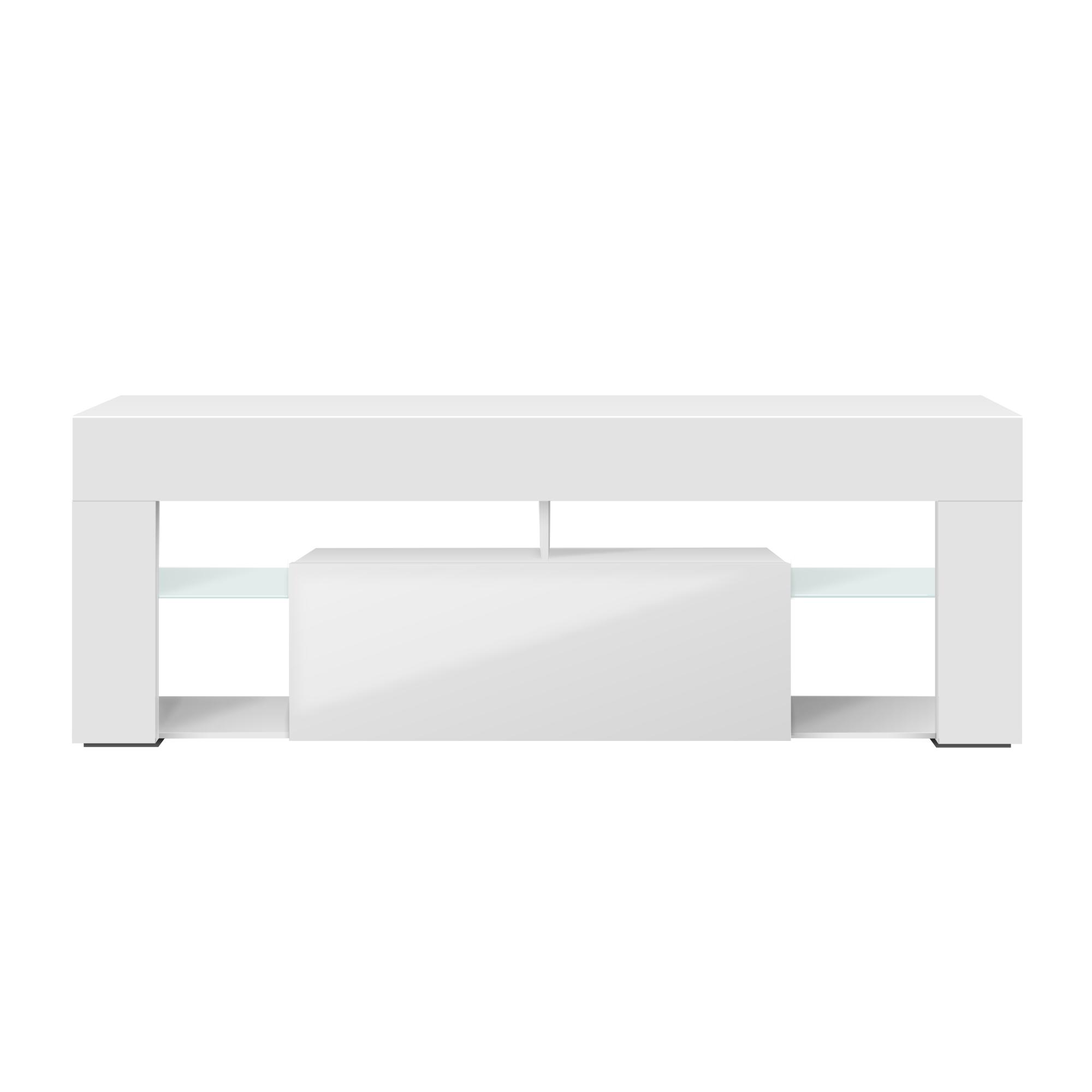 Meuble tv tablettes en verre blanc mat blanc brillant
