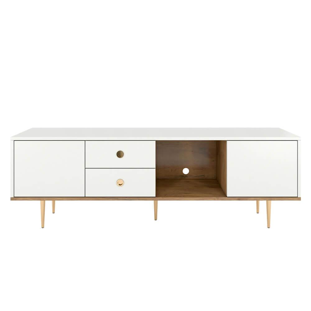 Meuble tv glamour blanc chêne pieds dorés
