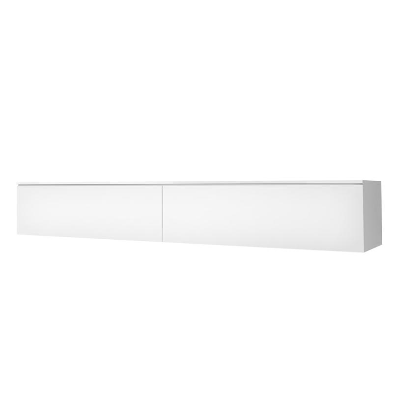 Meuble tv suspendu 180 cm blanc mat blanc brillant
