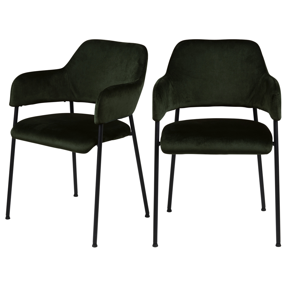 Lot de 2 chaises tapissé tissu velours olive