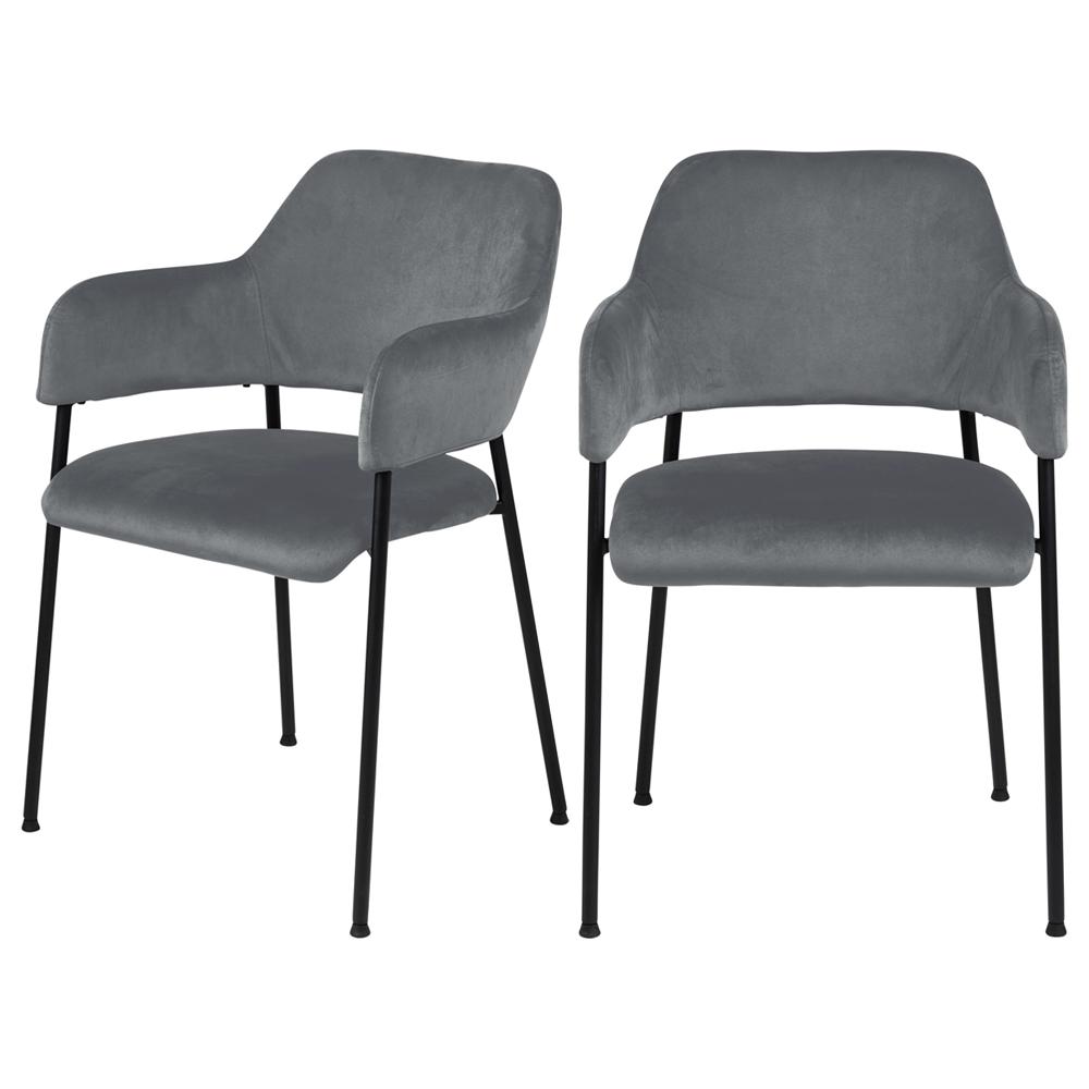 Lot de 2 chaises tapissé tissu velours gris foncé