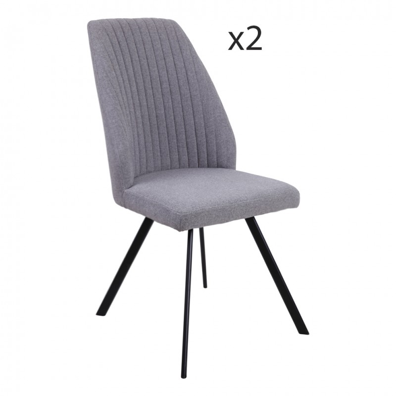 Lot 2 chaises tissu gris