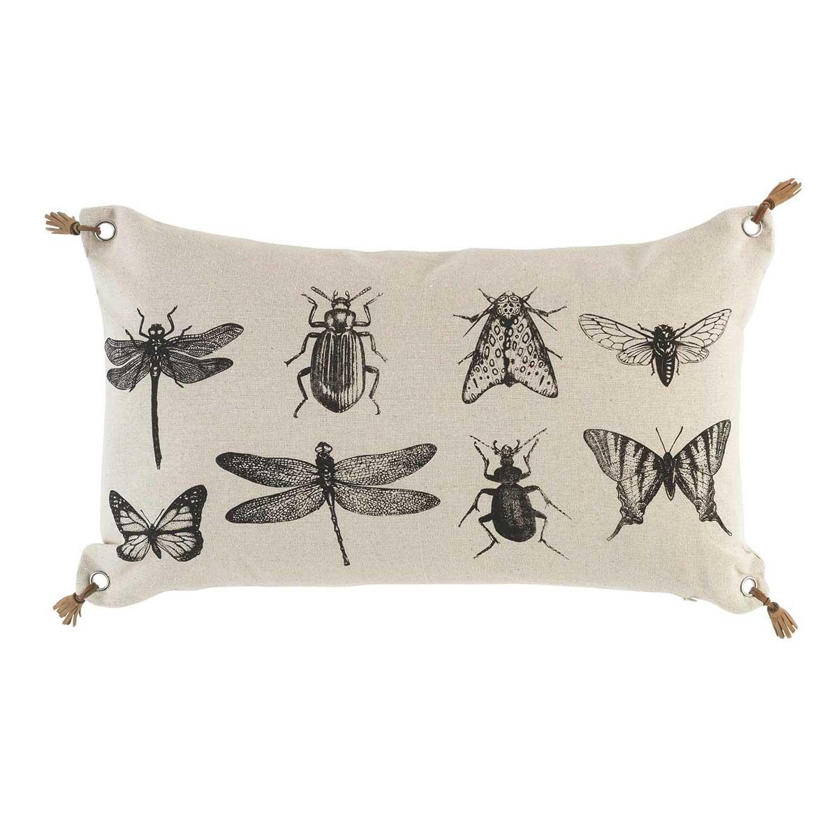 Coussin imprimé d'insectes à pompons de cuir polyester naturel 50x30