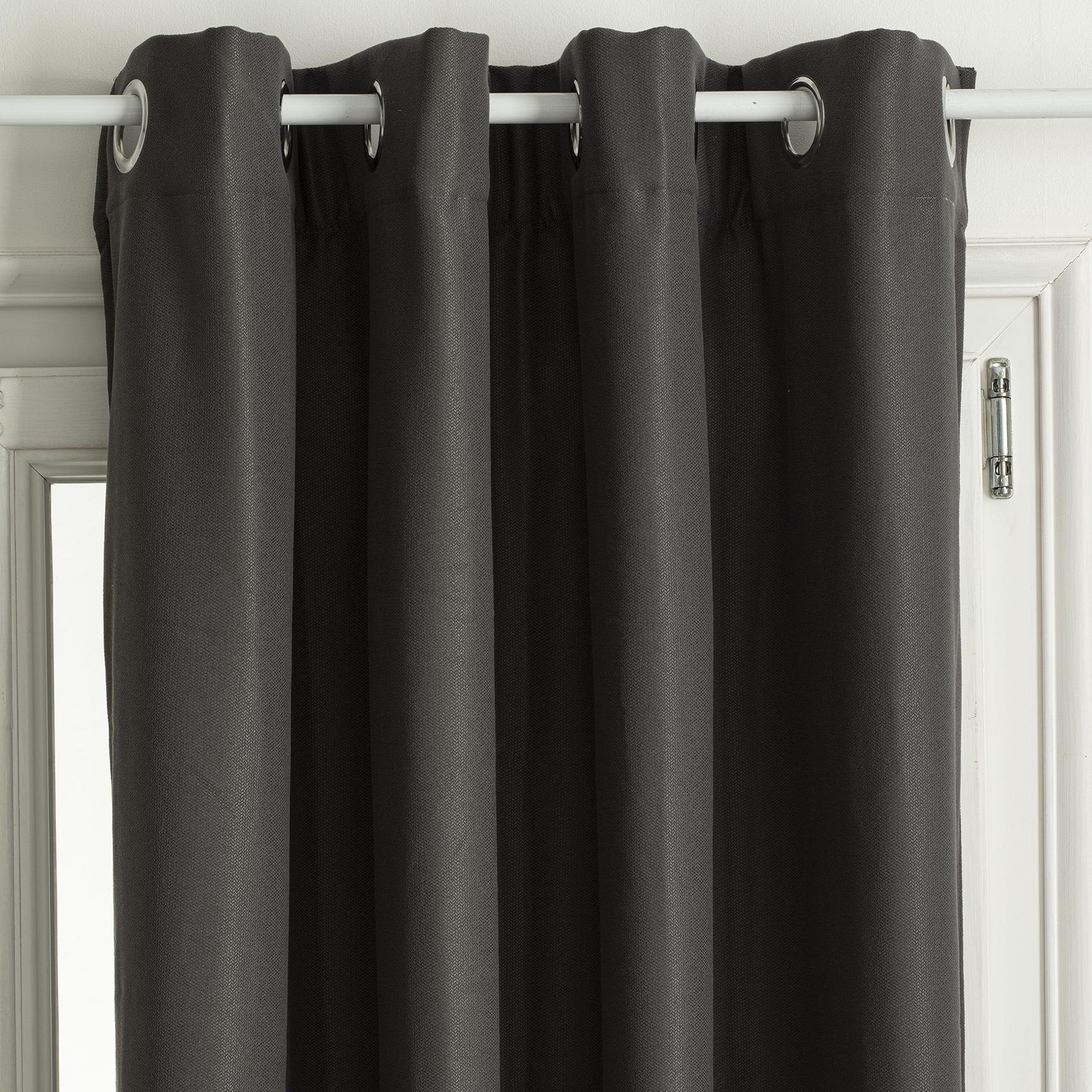 Rideau thermique et isolant uni polyester gris 260x140