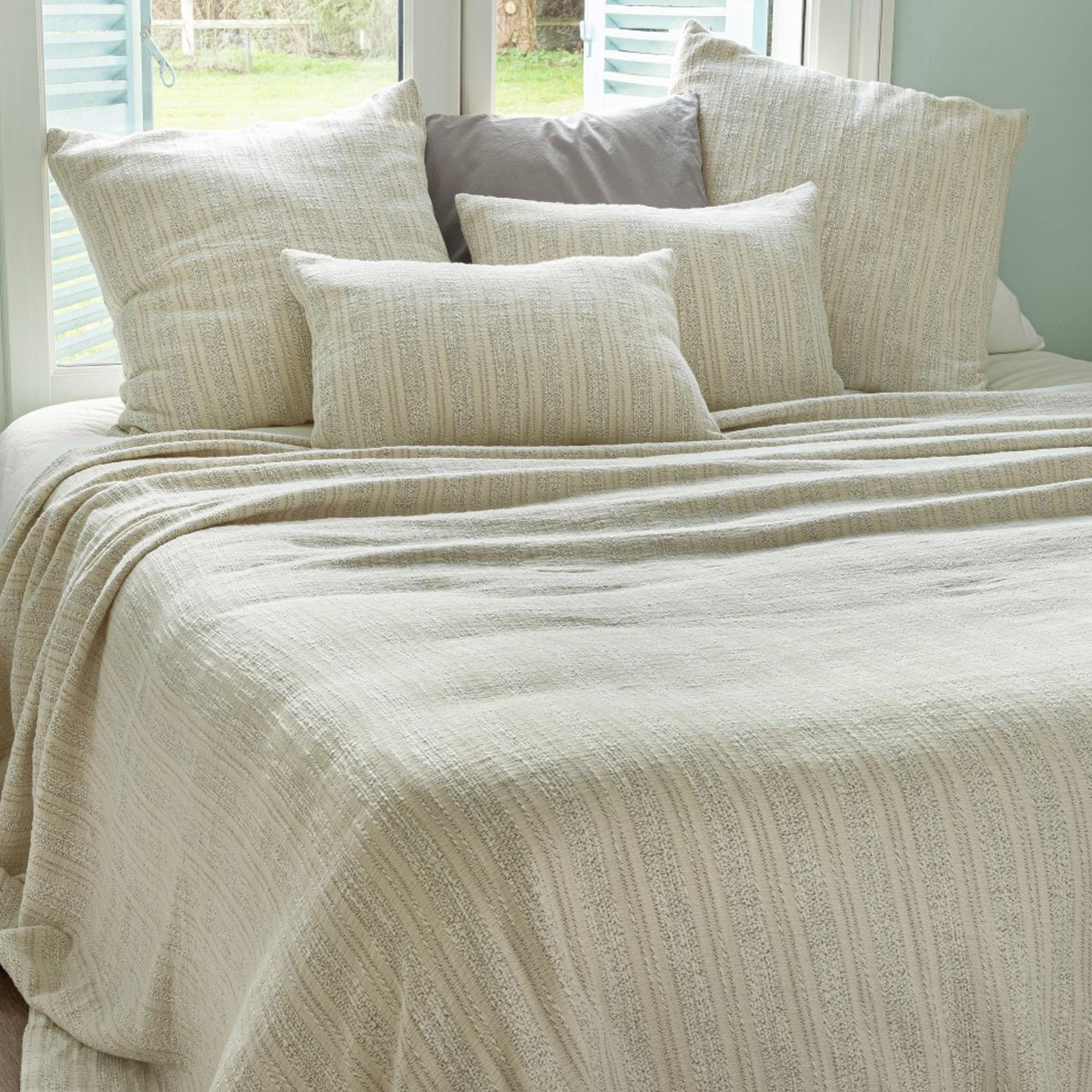 Dessus de lit en tissus jacquard coton ecru / noir 250x230