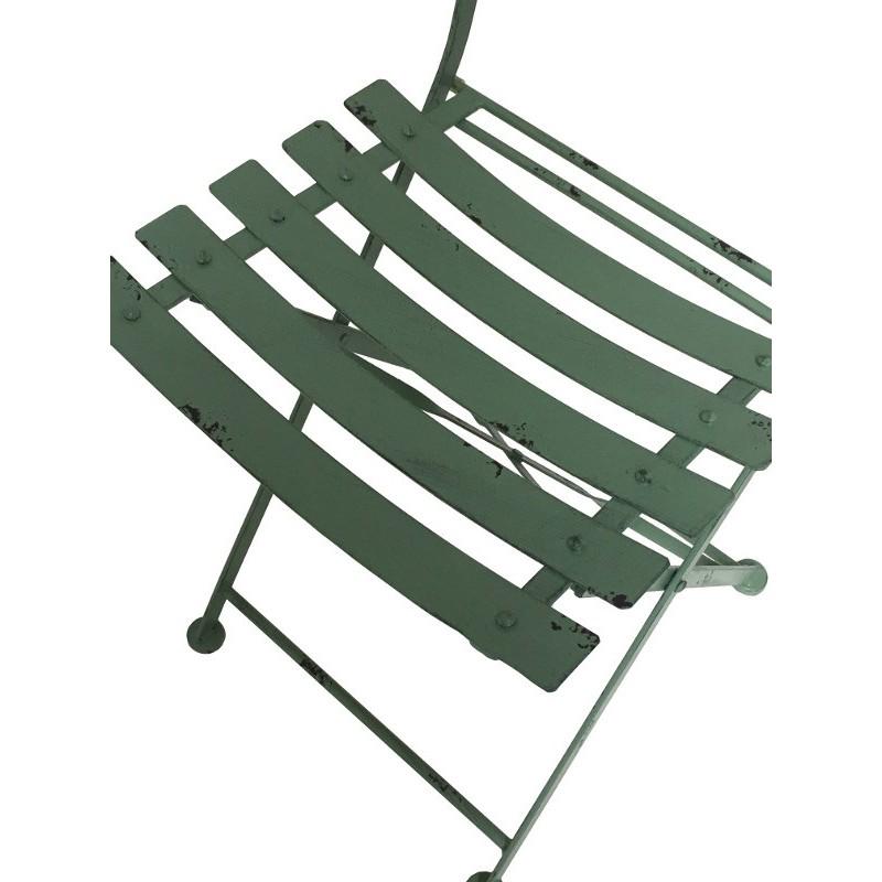 Chaise bistrot de jardin en fer pliable vert