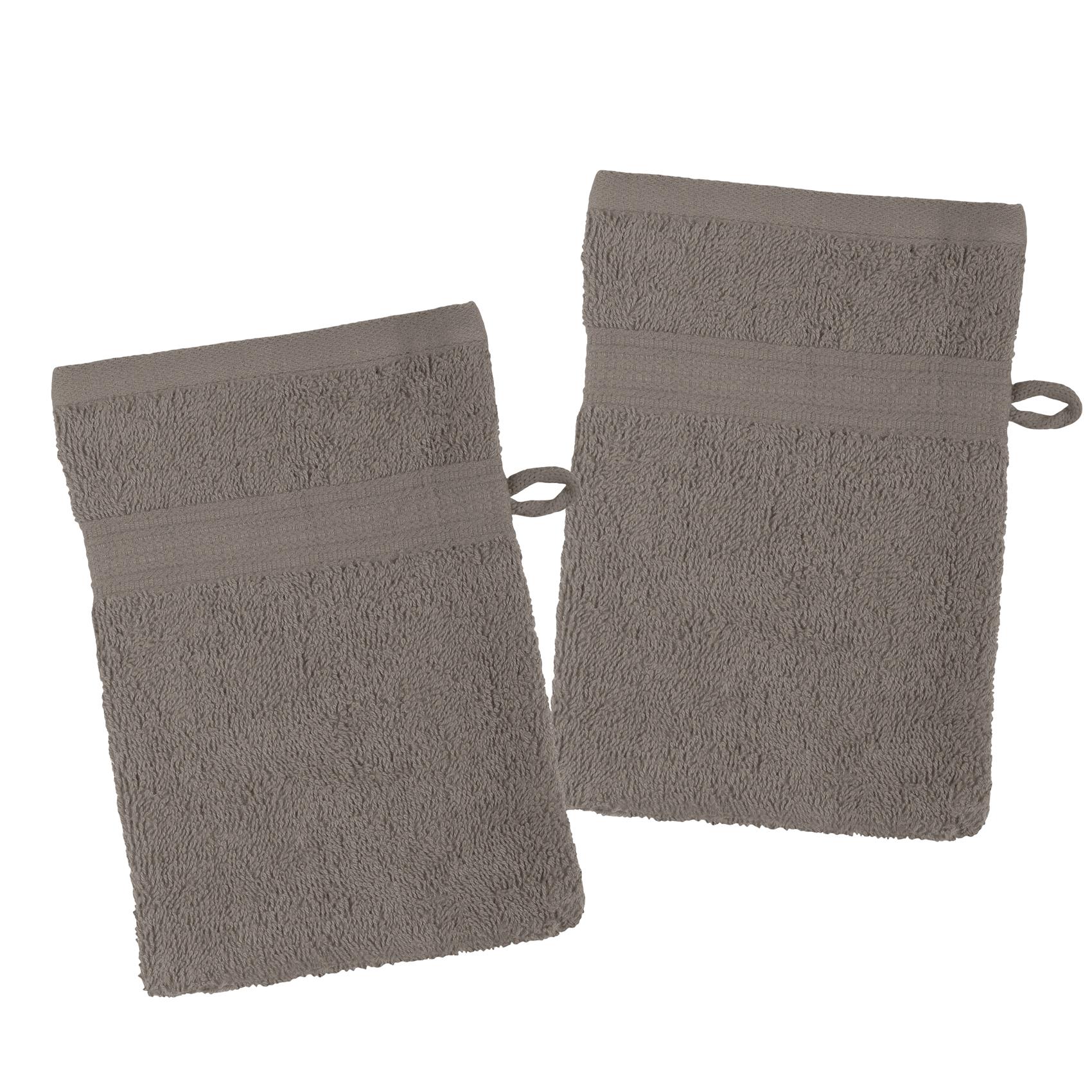 Lot de 2 gants de toilette en coton bio coton taupe 21x15