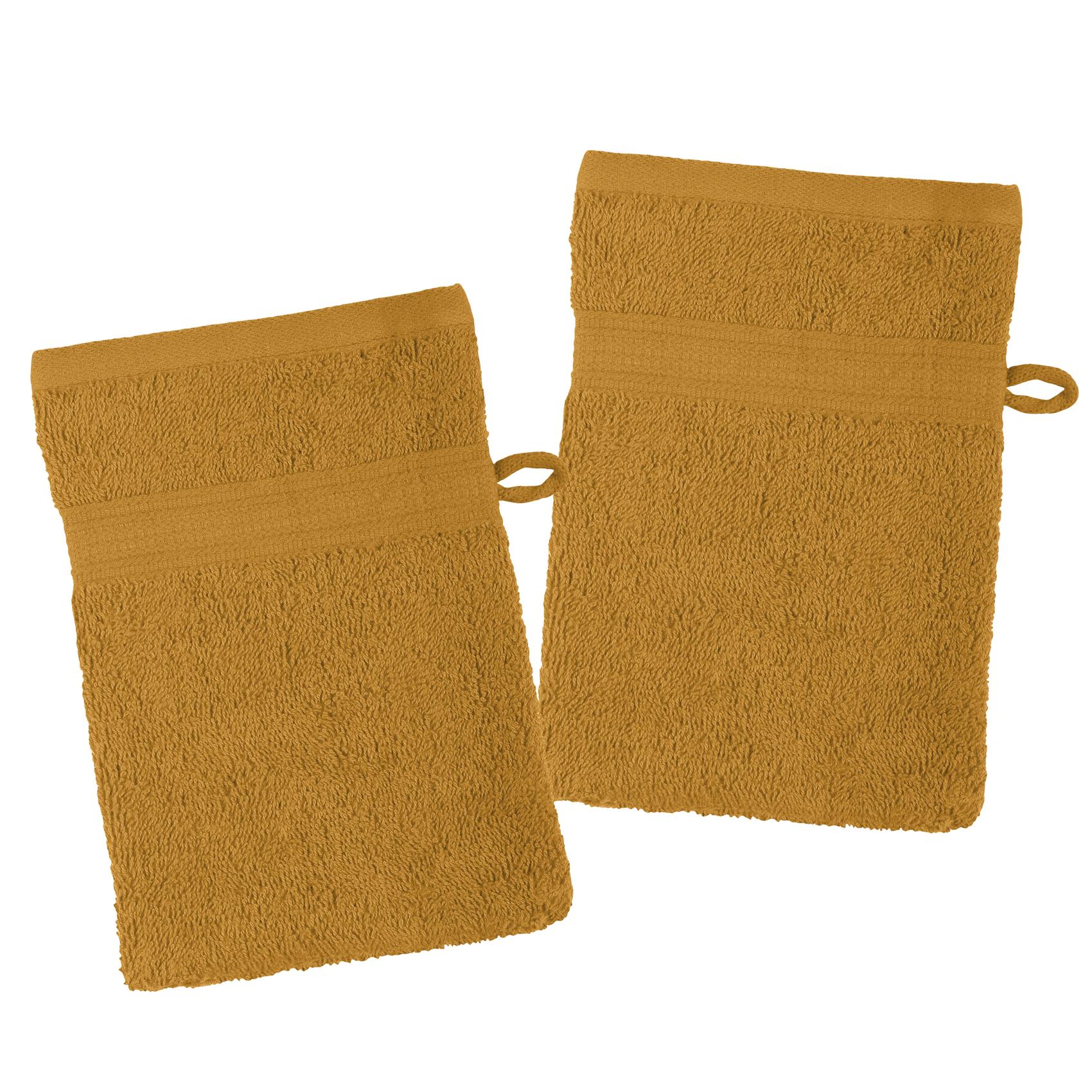 Lot de 2 gants de toilette en coton bio coton curry 21x15