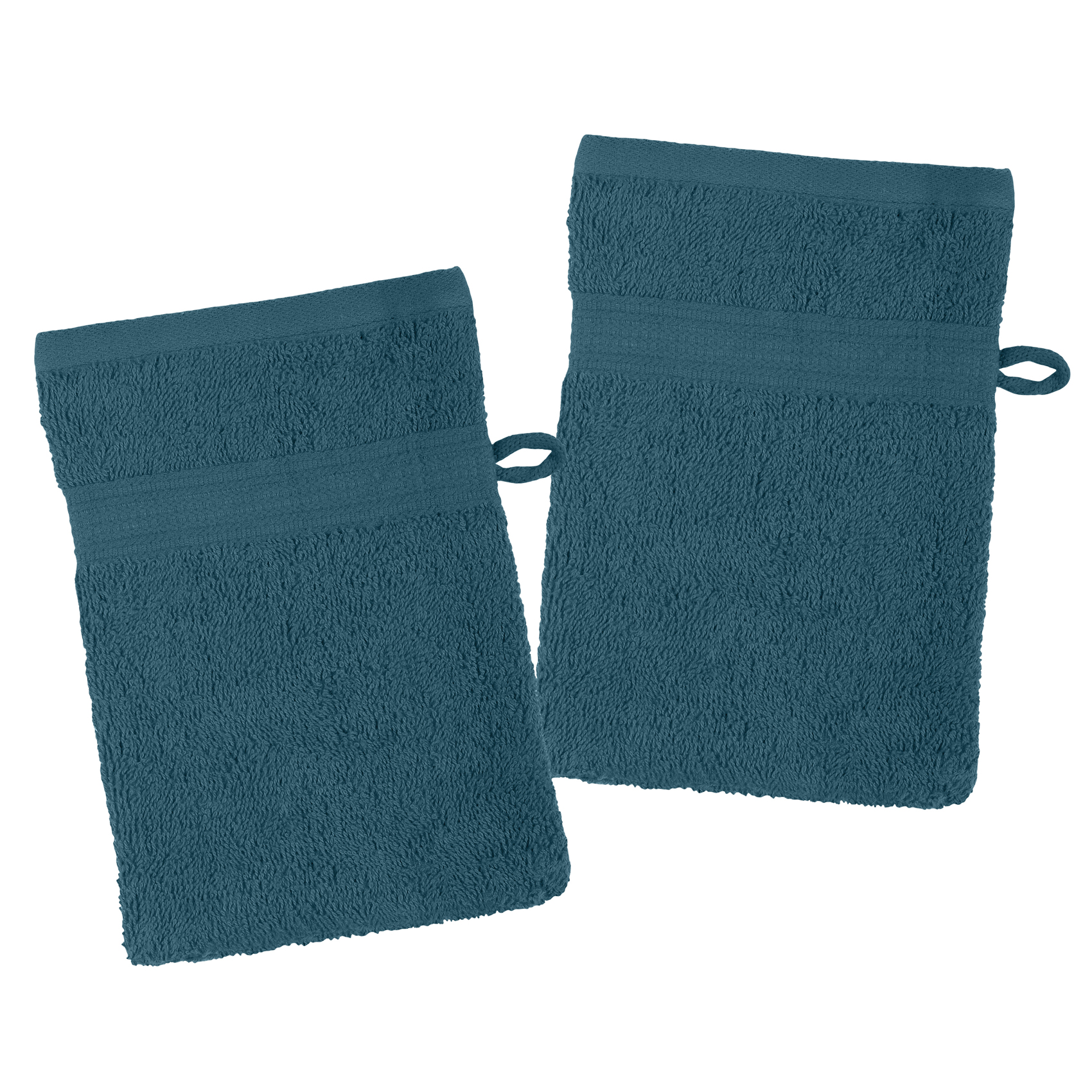 Lot de 2 gants de toilette en coton bio coton pétrole 21x15