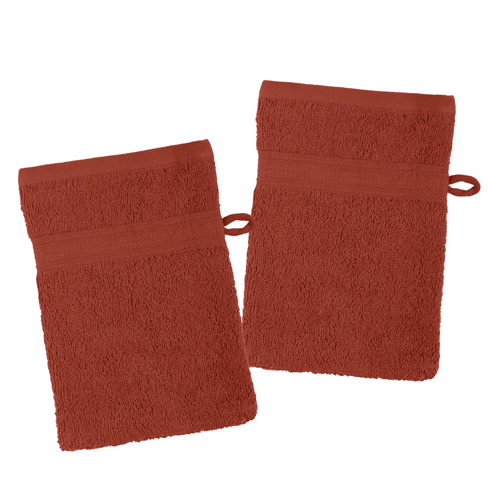 Lot de 2 gants de toilette en coton bio coton terracotta 21x15