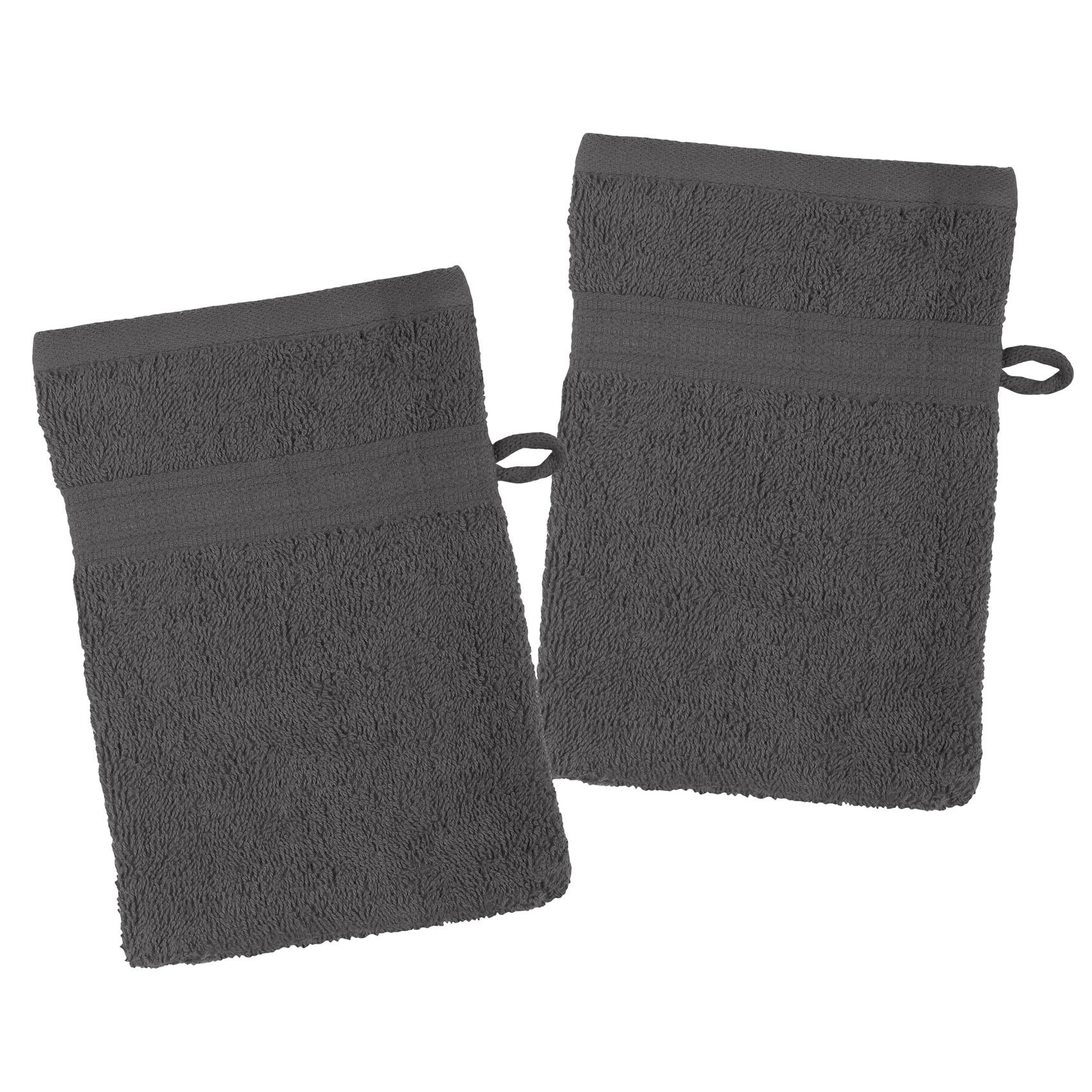 Lot de 2 gants de toilette en coton bio coton anthracite 21x15