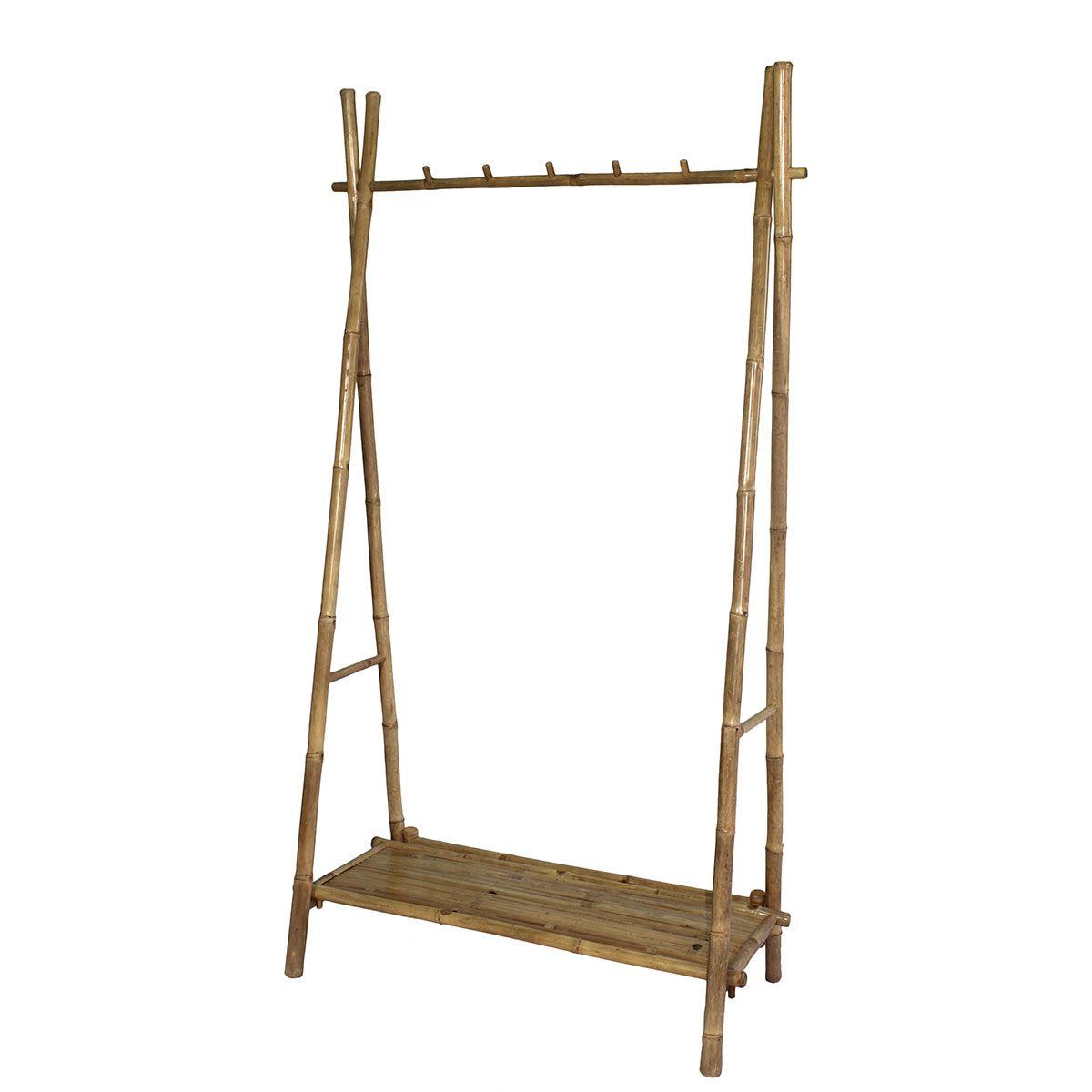Portant à vêtements en bambou bois clair