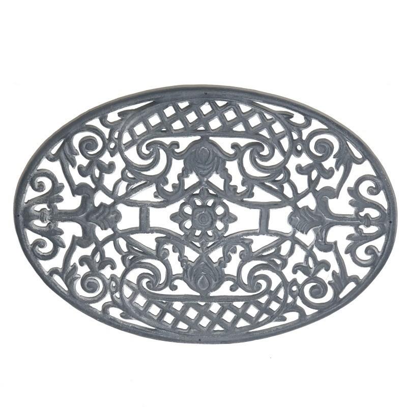 Gratte pied d'entrée paillasson tapis en fonte ovale gris 70x48