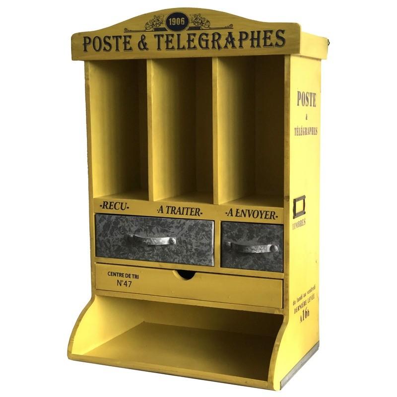 Boîte de rangement murale ou à poser en zinc jaune