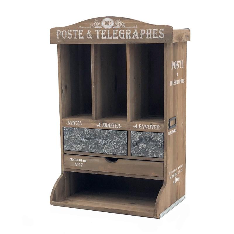 Boîte meuble poste à lettre courrier murale ou poser bois zinc 58x39