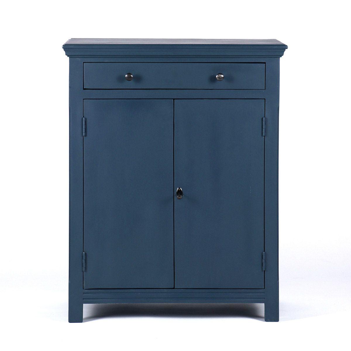 Buffet parisien 2 portes 1 tiroir bleu