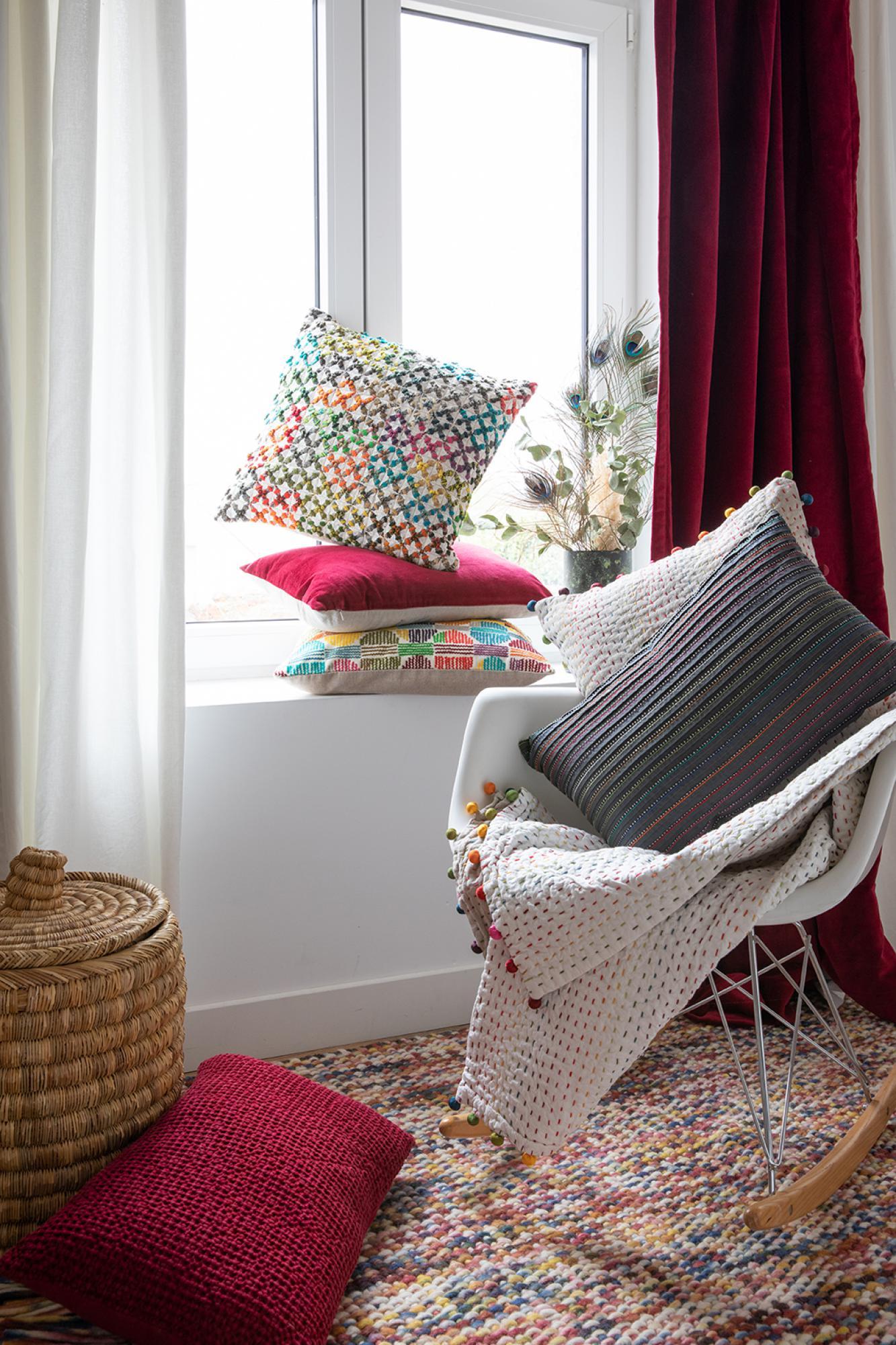 Rideau uni  en coton griotte 140 x 280