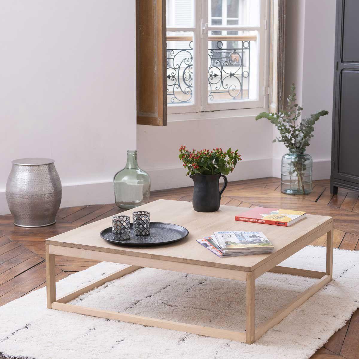 Table basse carrée en chêne  bois clair