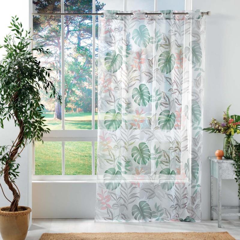 Voilage imprimé jardin exotique polyester blanc 240x140