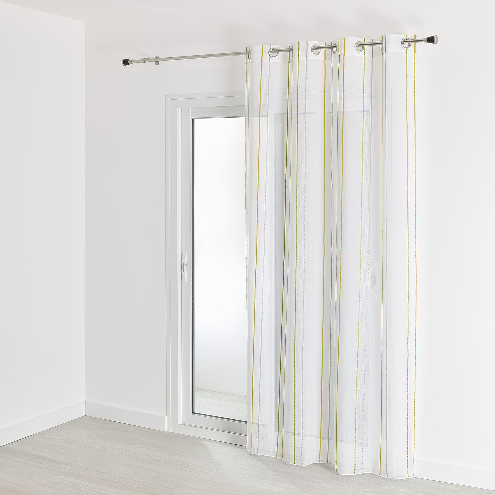 Voilage fantaisie à rayures polyester vert 240x140