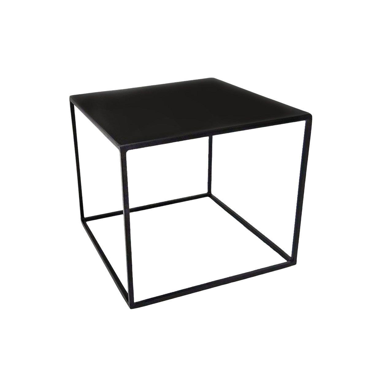 Bout de canapé carrée en métal noir