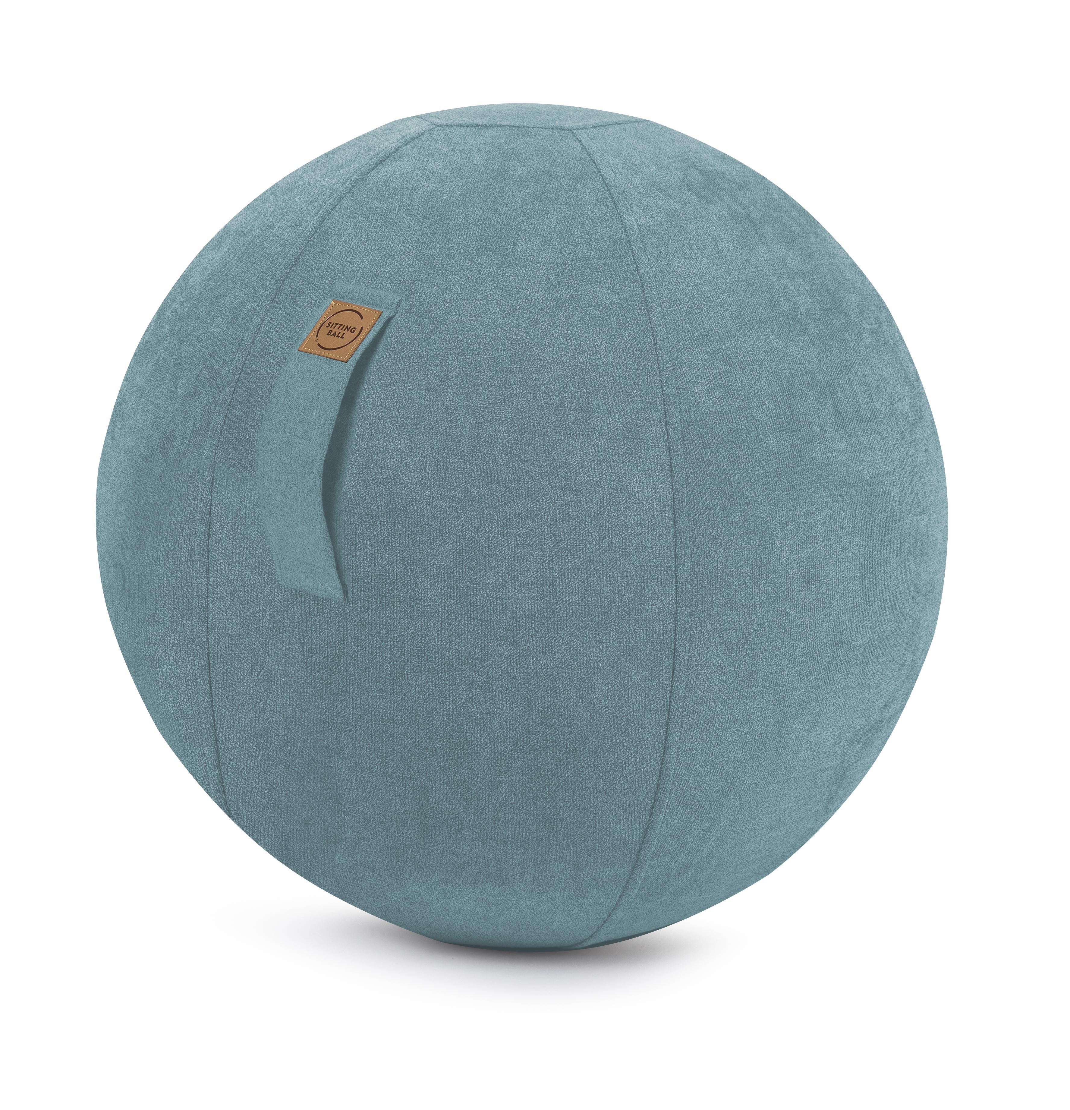 Balle d'assise design en suédine turquoise avec poignée D65