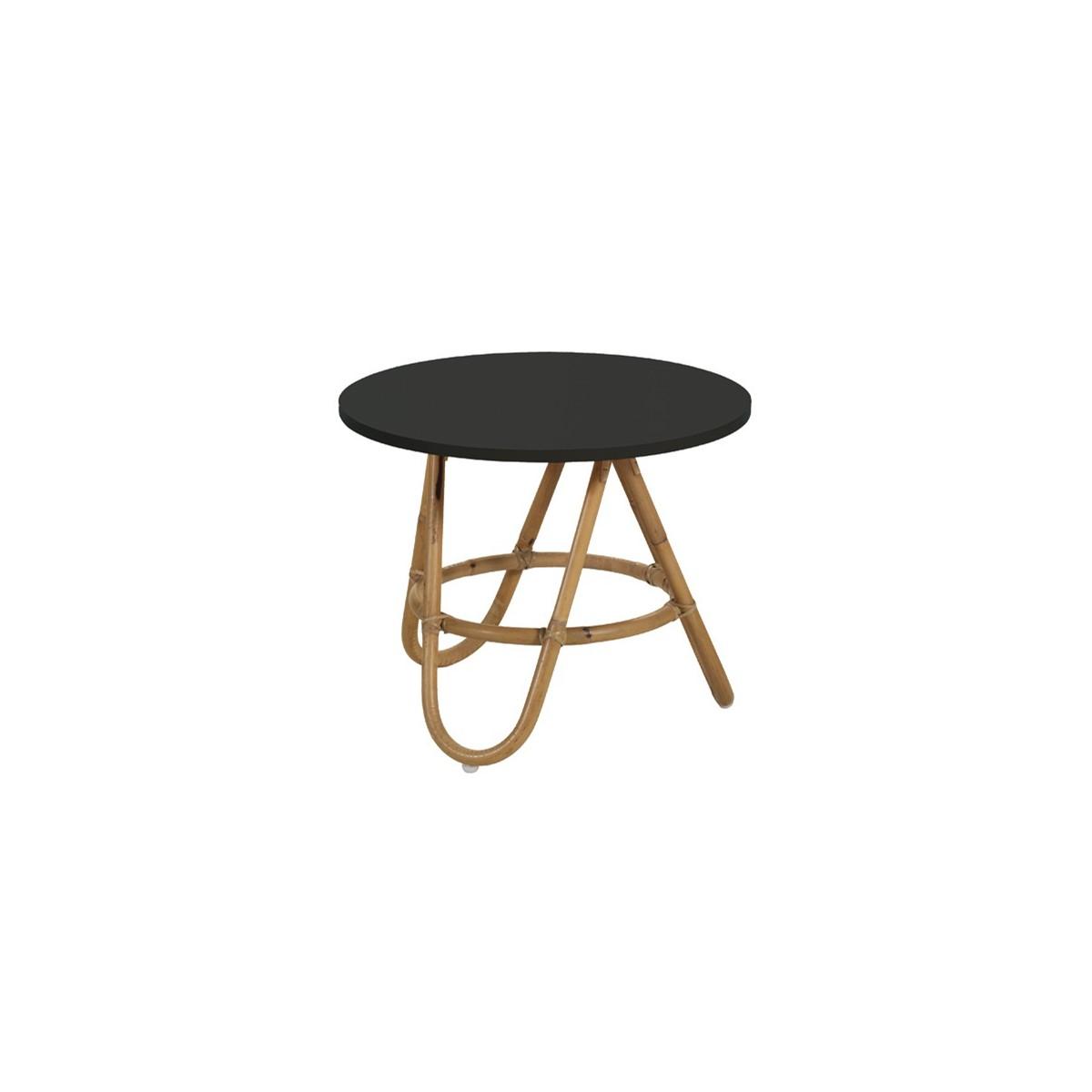 Table basse en rotin gigogne noir