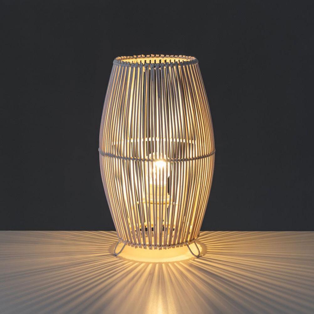 Lampe de table blanche en bambou H30,5cm