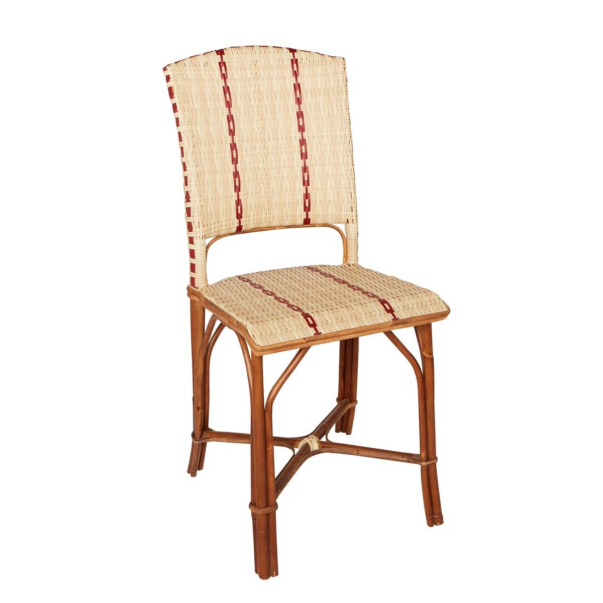 Chaise en rotin et résine beige foncé