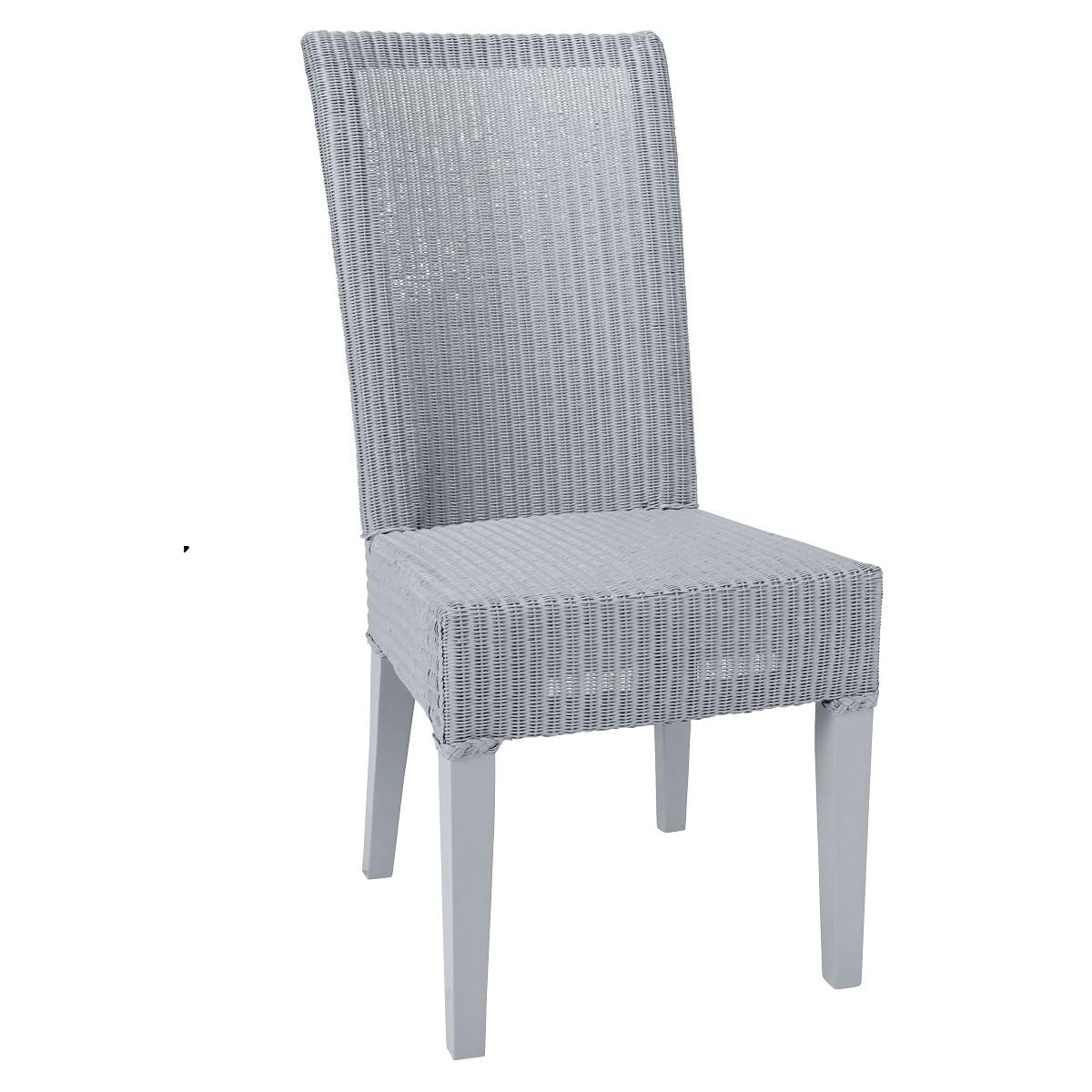 maison du monde Chaise en Lloyd Loom laqué bleu gris