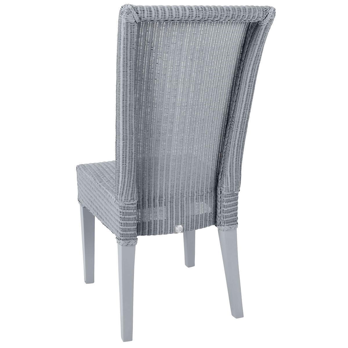 Chaise en Lloyd Loom laqué bleu gris
