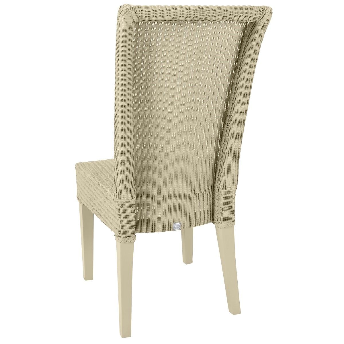 Chaise en Lloyd Loom laqué blanc cassé