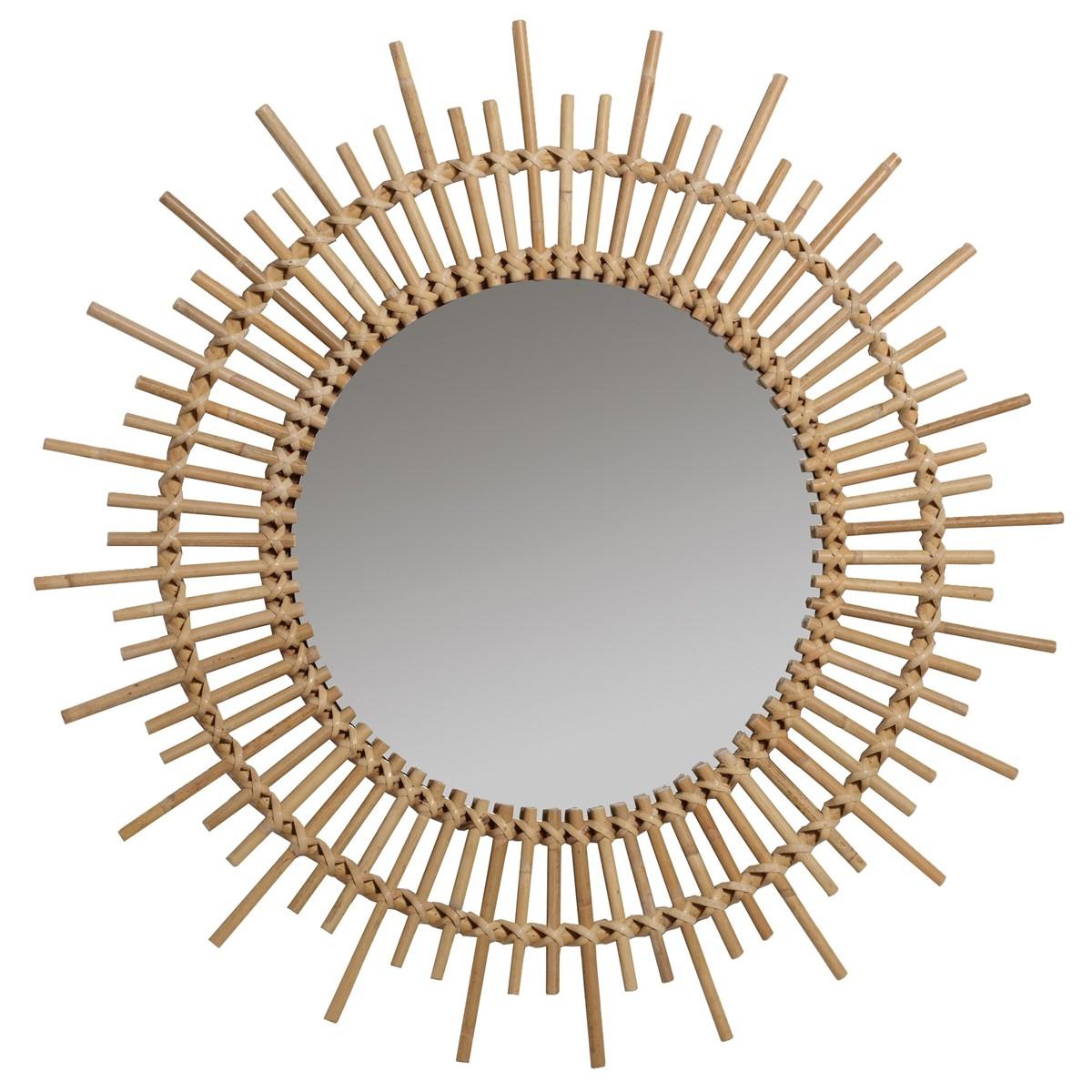 Miroir en rotin vintage D80 beige