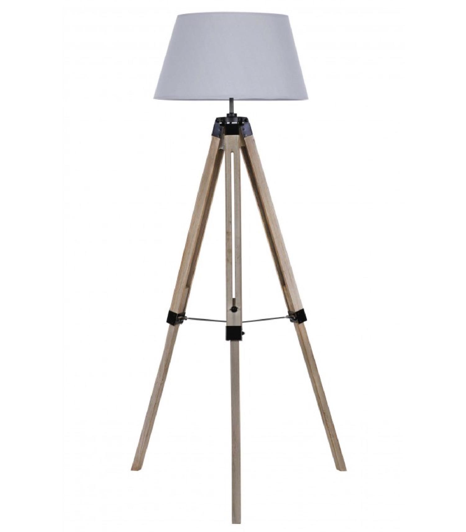 Lampadaire trépied bois abat-jour gris clair H144cm