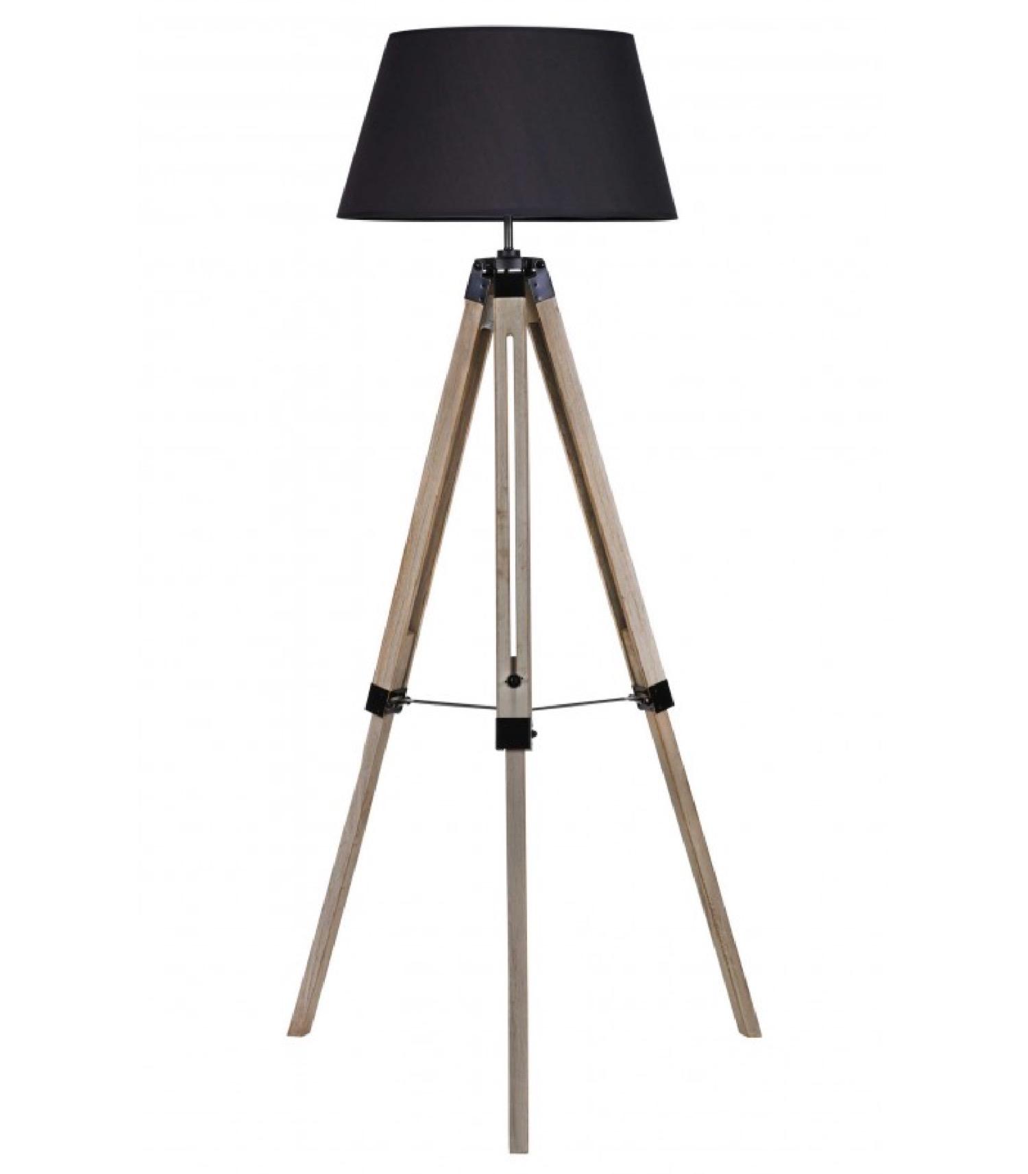 Lampadaire trépied bois abat-jour noir H144cm