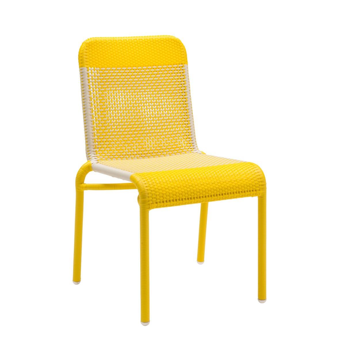 maison du monde Chaise de jardin tressée en résine jaune citron