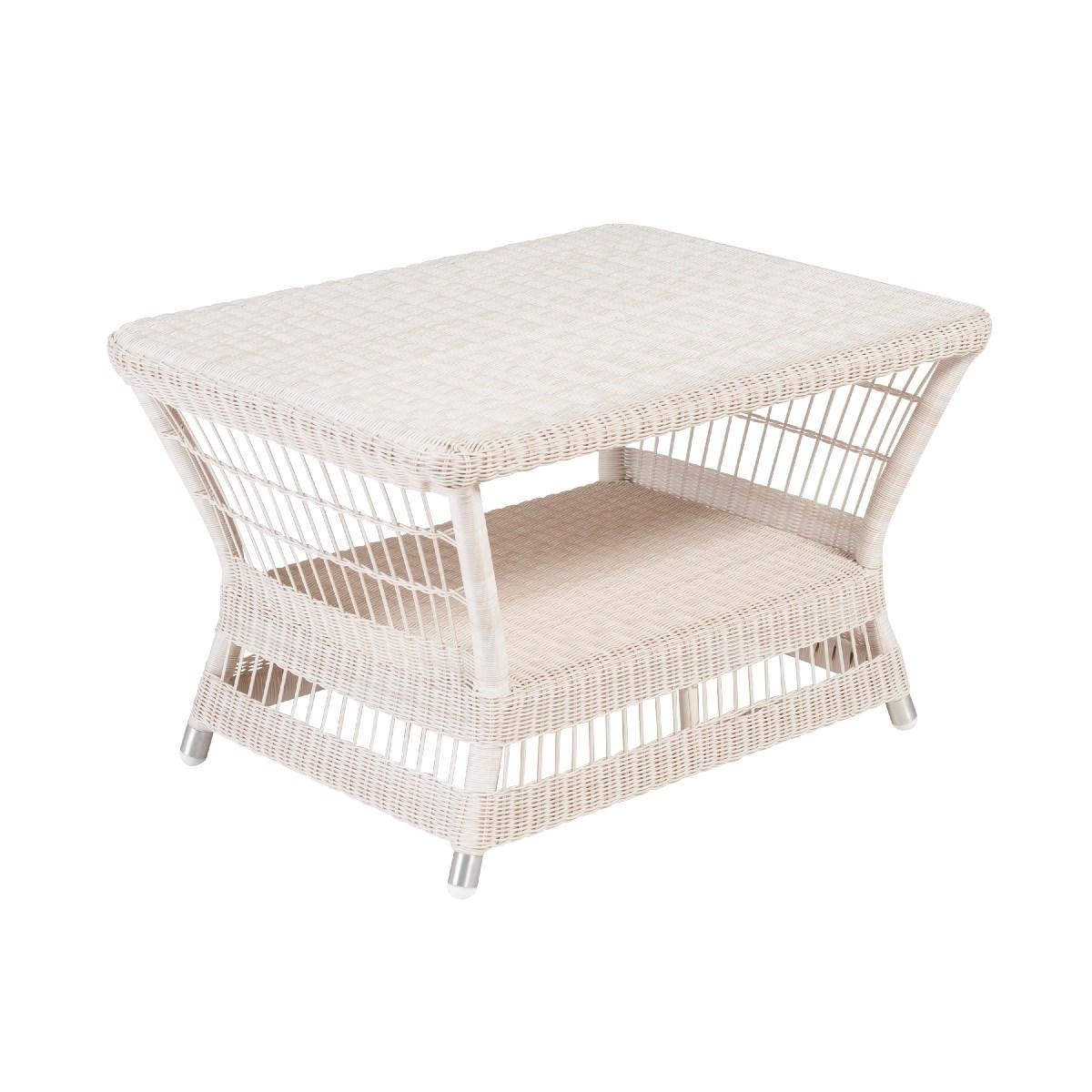 Table basse rectangulaire de jardin en résine blanc cassé