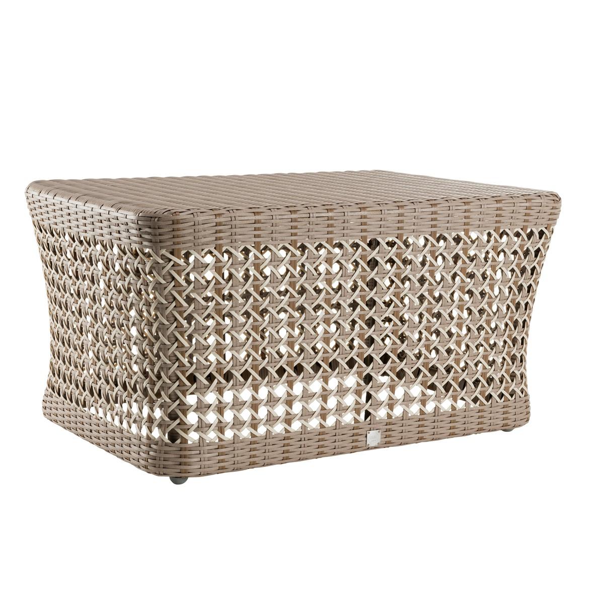 Table basse de jardin rectangulaire en résine gris
